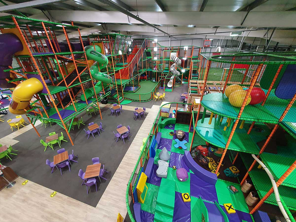 Soft Play crawl tubes and spider climb for children